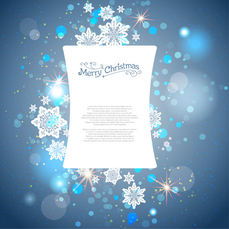 Shining blue winter background with snowflakes. Place for text. Vector