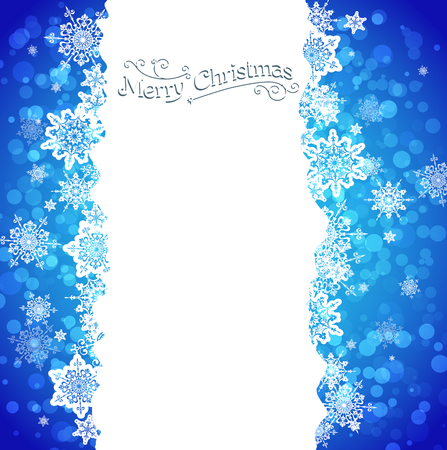 Blue snowy background with place for text. Vector