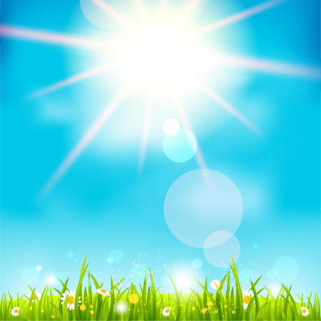 Bright summer midday. Holiday sunshine background.  Vector