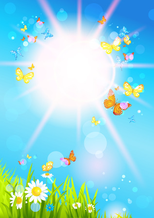 Bright summer sunshine day and butterflies. Vector seasonal illustration Illustration