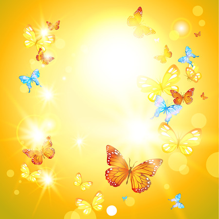Positive summer card with sunshine and butterflies Vector