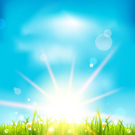 summer day: Hermoso d�a de verano con la luz del sol y el cielo azul Vectores