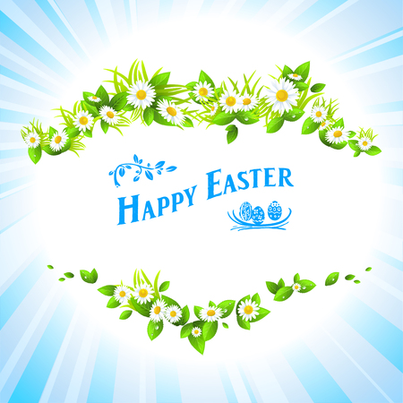 Easter festive card with flowers. Vector holiday illustration.   Vector