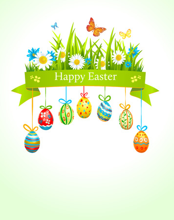 Spring easter background with eggs. Raster version Illustration