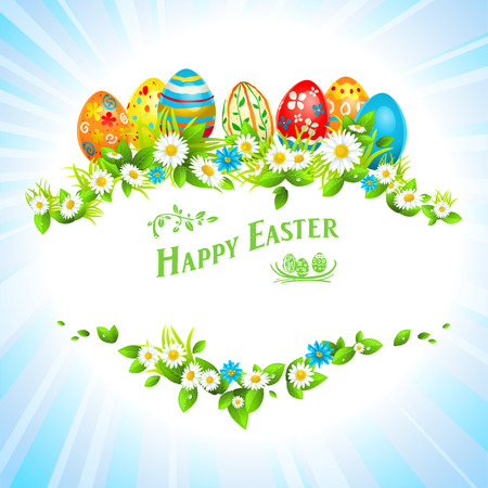 Easter festive card with eggs and flowers. Place for text. Vector
