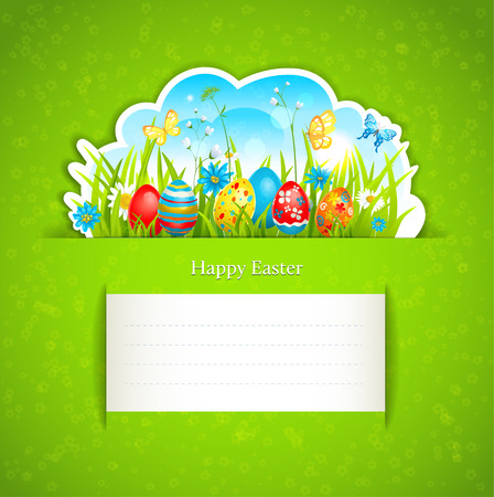 Festive green easter background with place for text. Vector