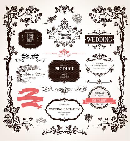 esküvő: Vector design elemek és kalligrafikus dekoráció esküvői és nyaralás esemény Illusztráció