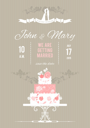 Vector wedding card with wedding cake. Holiday background  Vector