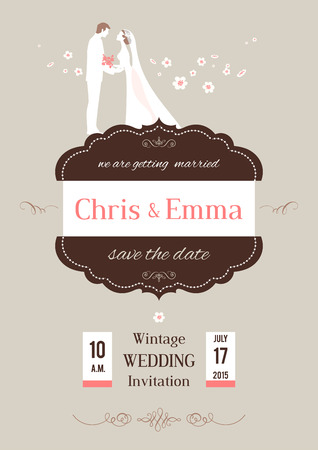 Wedding invitation card with wedding cake. Vector illustration.