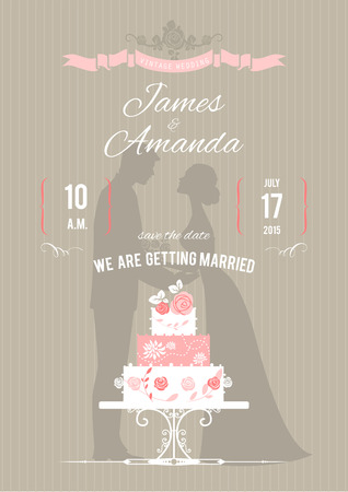 Wedding invitation with wedding cake. Vector illustration  Illustration