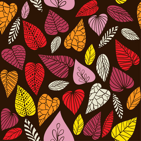 Abstract seamless vector pattern with decorative leaves. Vector