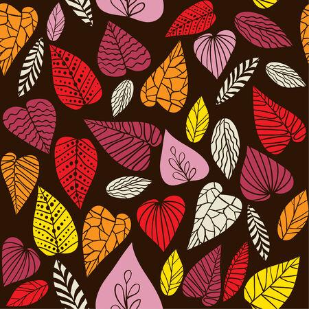 Abstrakte nahtlose Vektor-Muster mit dekorativen Blättern. Vektorgrafik