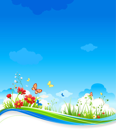 Beautiful summer scenery with flowers Vector