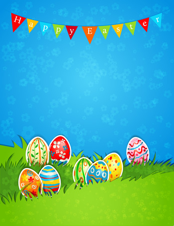 Holiday Easter background with eggs. Place for text Vector