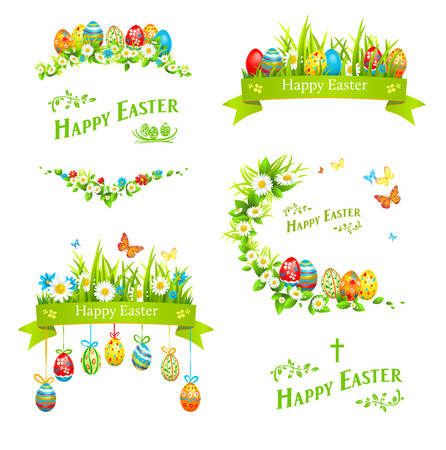 Easter design elements set. Holiday floral decorations with color eggs