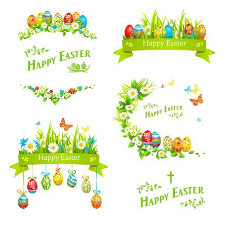 pasqua cristiana: Pasqua elementi di design set. Vacanza decorazioni floreali con le uova di colore Vettoriali