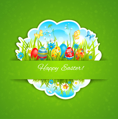 place for the text: Easter holiday background. Festive card with place for text
