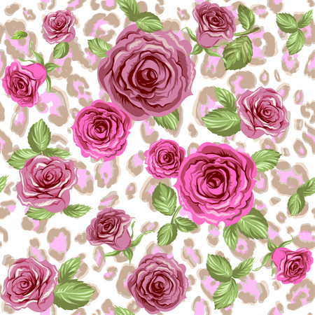 Fashion animal pattern and flowers. Roses on repeating leopard background