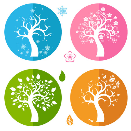 Set of icons with four trees Vector