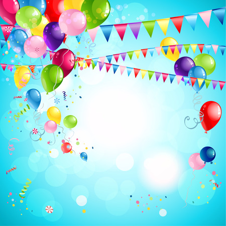 Happy holiday background with bright multicollor balloons Vector