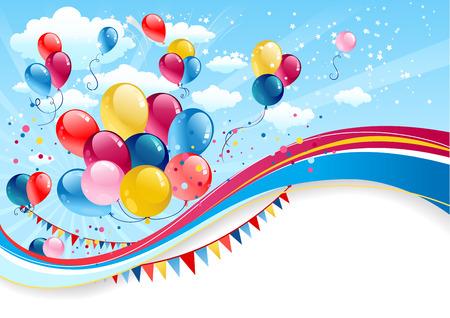 Vakantie achtergrond met ballonnen met plaats voor tekst