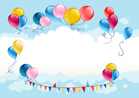 event party festive: Festive summer background with balloons
