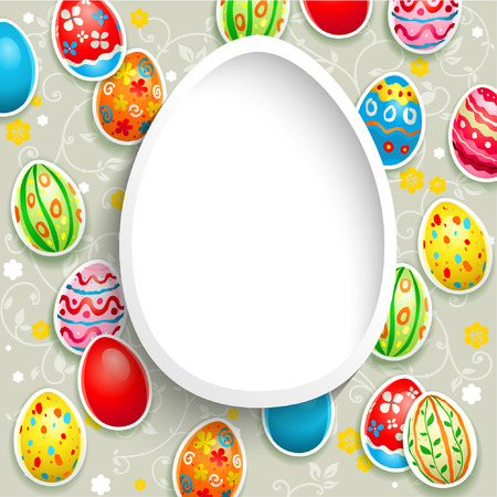 religious event: Happy easter frame with eggs.