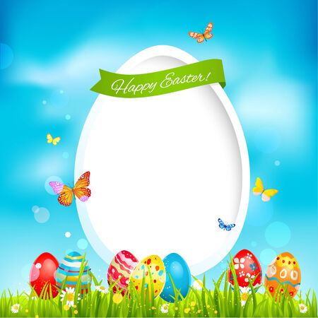 Holiday easter card with color eggs on green grass Vector