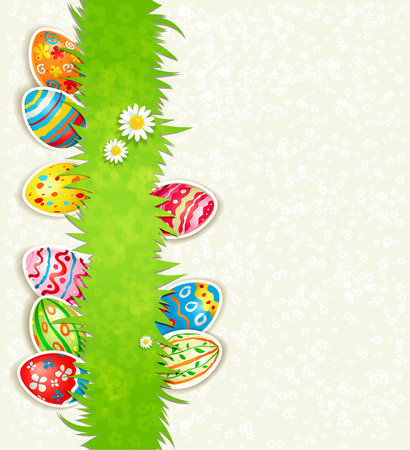 Holiday eggs on green grass Vector