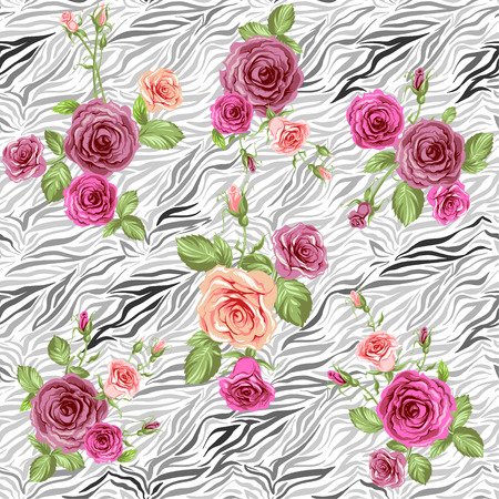 Stylish animal pattern and roses. Seamless vector Vector