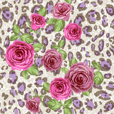 Stylish animal pattern with roses.Seamless vector background.