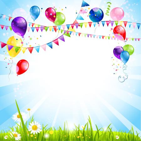 for text: Estate vacanza sfondo con palloncini. Posto per il testo Vettoriali