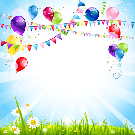 Summer holiday background with balloons. Place for text
