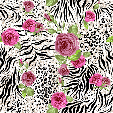 Animal skin and roses. Seamless repeating pattern Vector