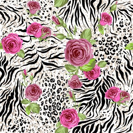 Piel de animales y rosas. Patrón de repetición sin fisuras Vectores