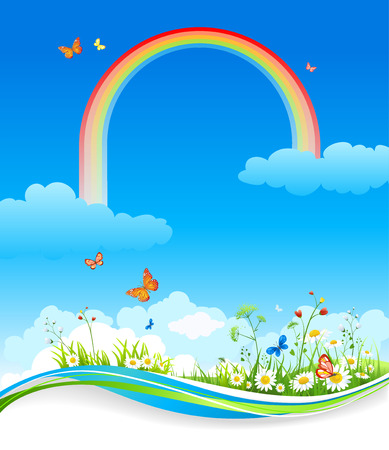 Beautiful summer illustration with flowers. Raster version Vector
