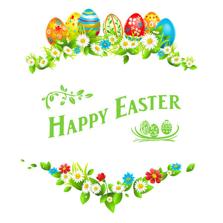 Easter frame. Holiday floral decorations with color eggs Vector