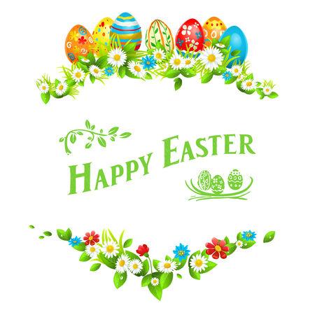 Het frame van Pasen. Vakantie bloemendecoraties met kleur eieren
