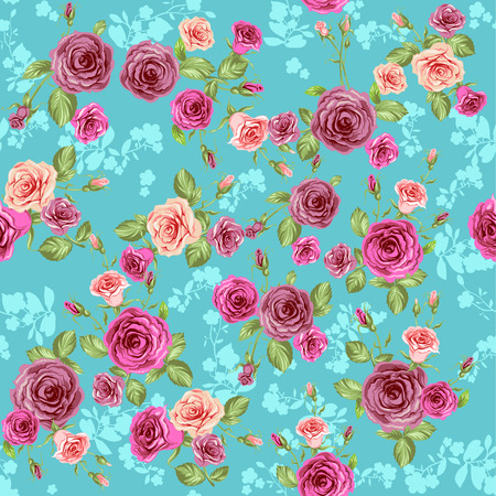 Floral pattern on blue background. Repeating pattern Vector