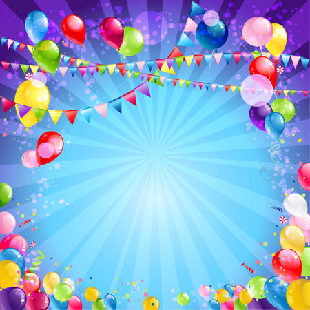 Holiday background with balloons.  Place for text. Vector illustration. Vector