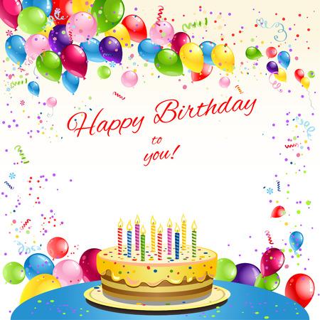Szczęśliwy kartka urodzinowa z ciastem i balonami. Miejsce dla tekstu.