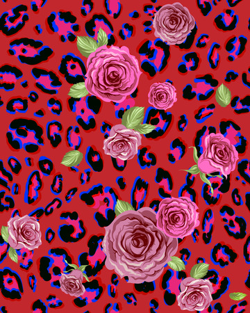 Red animal seamless pattern with roses Vector