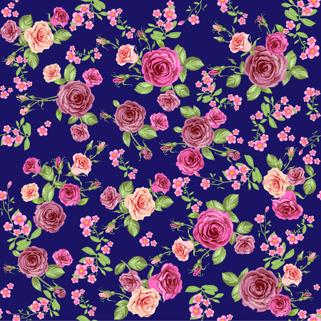 Roses on dark background. Floral seamless pattern