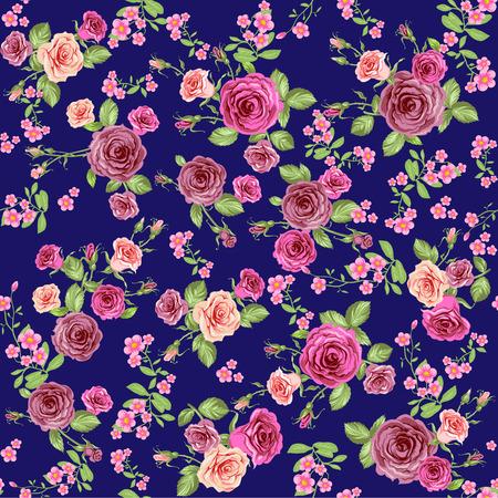 Rozen op een donkere achtergrond. Bloemen naadloos patroon