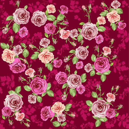 Roses seamless pattern. Floral vector background. Vector