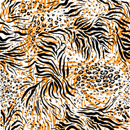 Tiger skin background. Animal seamless pattern Vector