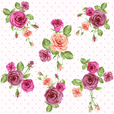 Vintage floral seamless pattern. Roses vector background Vector