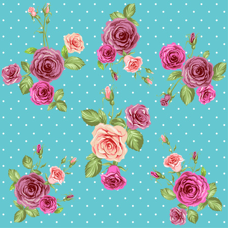 mixed wallpaper: Vintage roses pattern. Seamless floral retro background Illustration