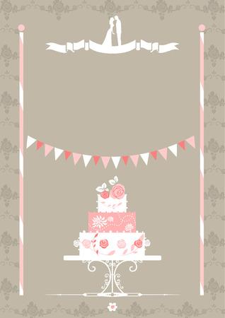 invitaci�n vintage: Invitaci�n de boda con la torta