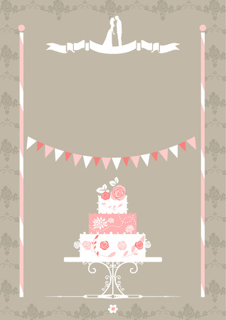 wedding reception decoration: Wedding invitation with cake Illustration